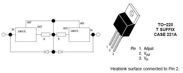 Стабилизатор состоит из двух микросхем LM317, двух резисторов и двух диодов.  Принципиальная схема стабилизатора и...